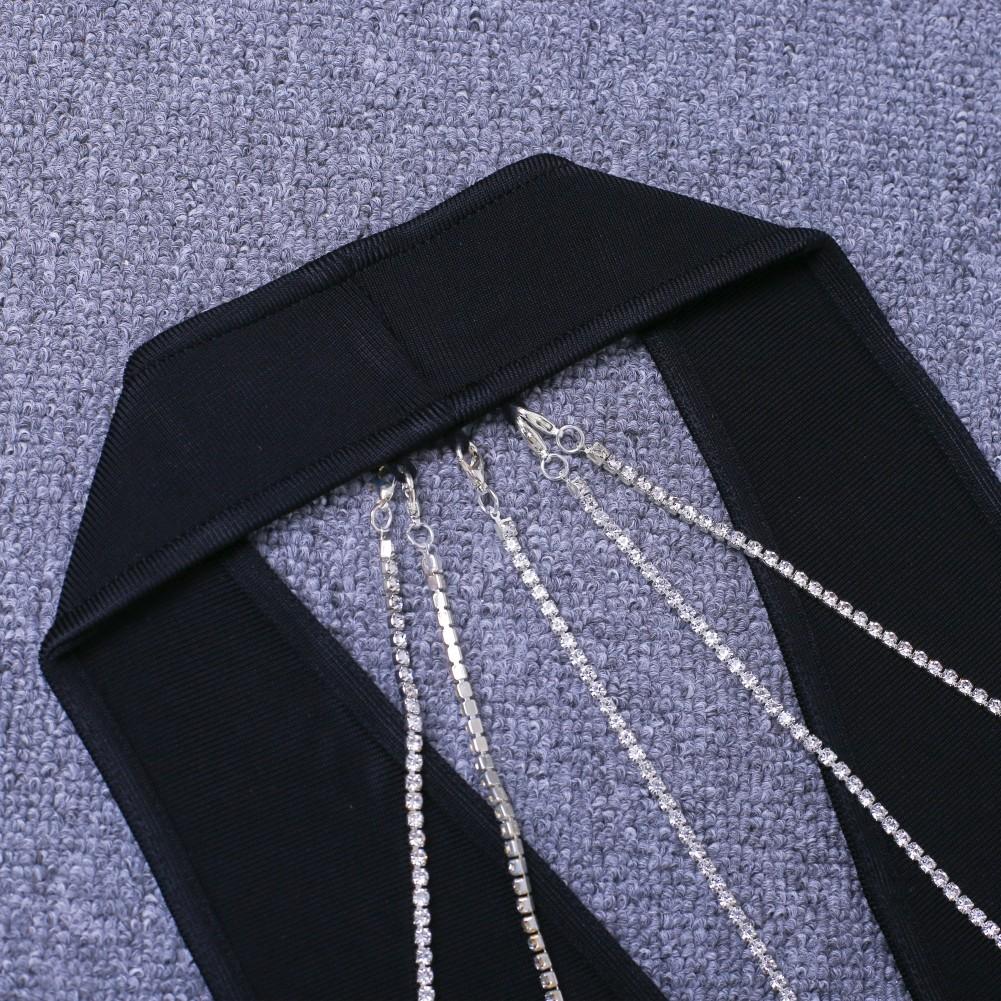 Rayon - Black Halter Sleeveless Knee Length Deep V Back Open With Chain Sexy Bandage Dress  HJ392-Black