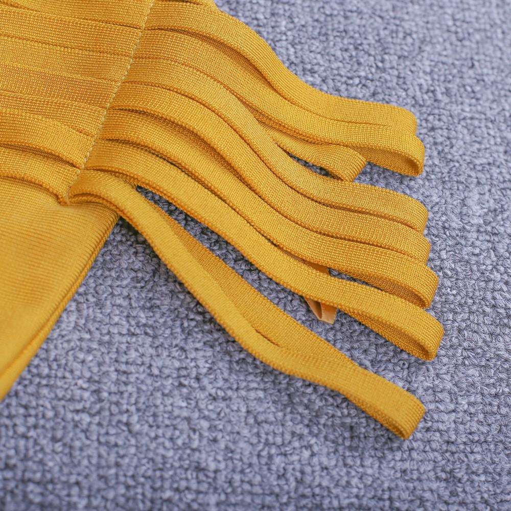 Yellow Off Shoulder Cap Sleeve Mini Stripe Decorated Fashion Bandage Dress HI918-Yellow