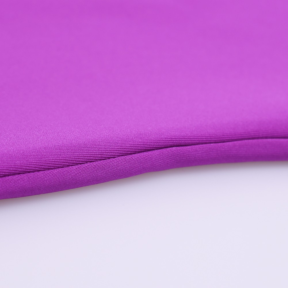 Rayon - Purple Round Neck Long Sleeve Knee Length Scolloped Sleeves Memory Foam Exaggerated Bodycon Dress HJ511-Purple