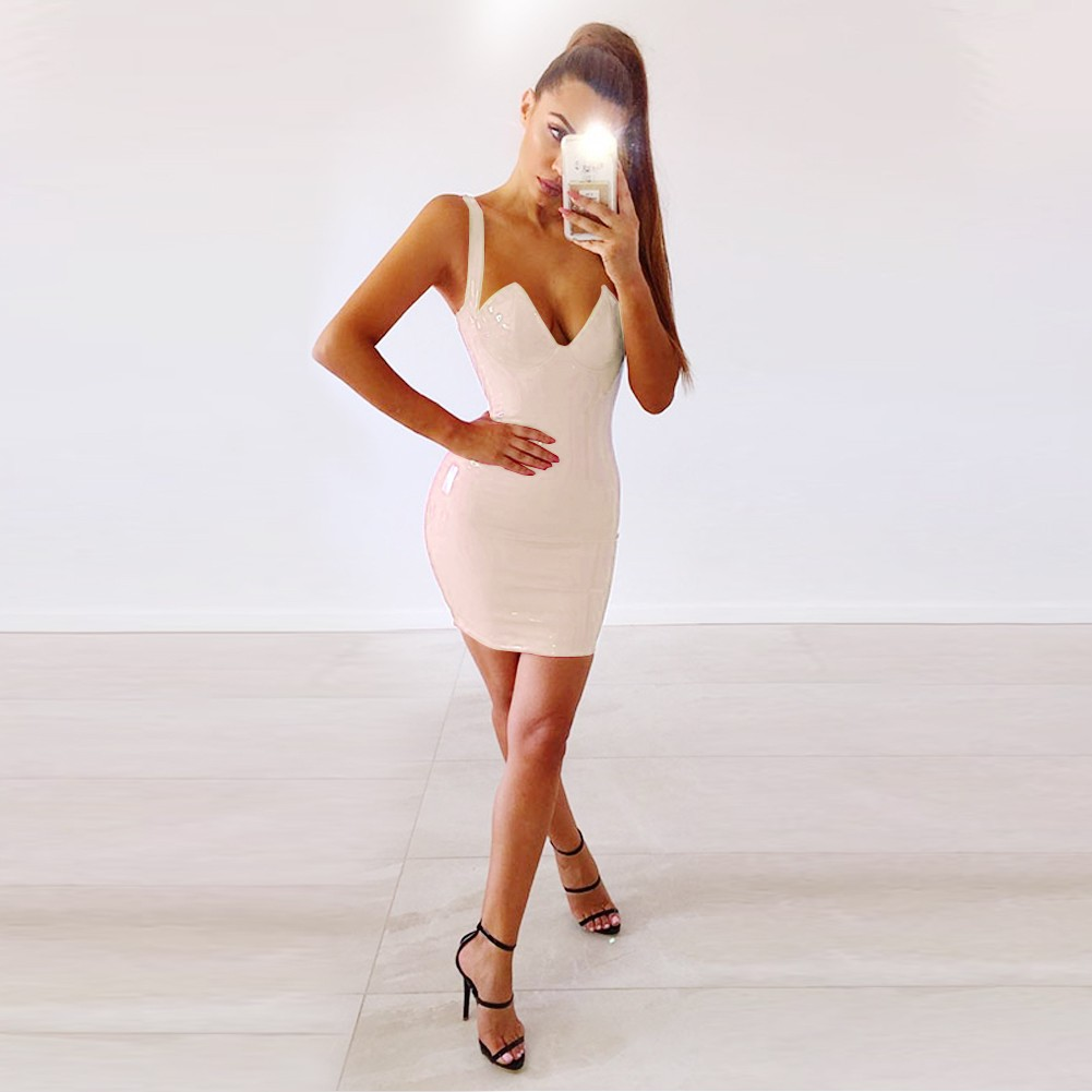 Nude Strapy Sleeveless Mini Back Zipped Cut Out Latest Bodycon Dress HB5395-Nude