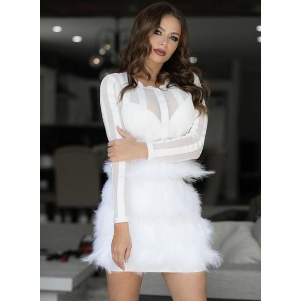 White Round Neck Long Sleeve Mini Feather Fashion Bandage Dress HB5280-White