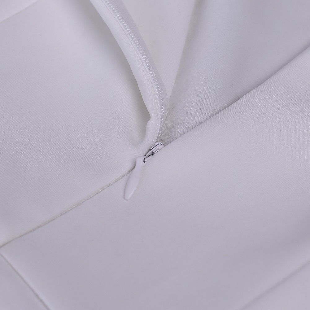 White V Neck Long Sleeve Over Knee Deep V Neck Side Slit Sexy Bodycon Dress HD511-White