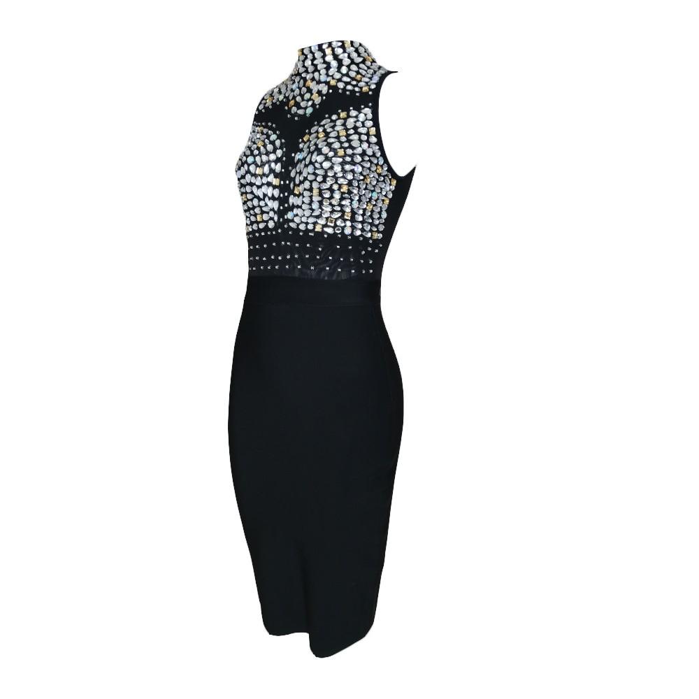 High Neck Sleeveless Crystal Beading Black Bandage Dress HT1499-Black