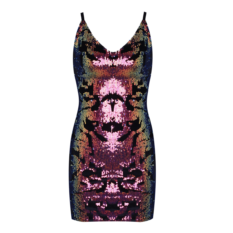 Rayon - Purple V Neck Sleeveless Mini Strapy Back Vent Sexy Bodycon Dress H0078-Purple