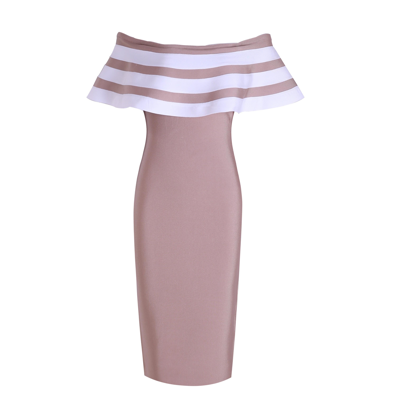 Rayon - Nude Off Shoulder Cap Sleeve Over Knee Peplum Plain Party Bandage Dress HJ514-Nude