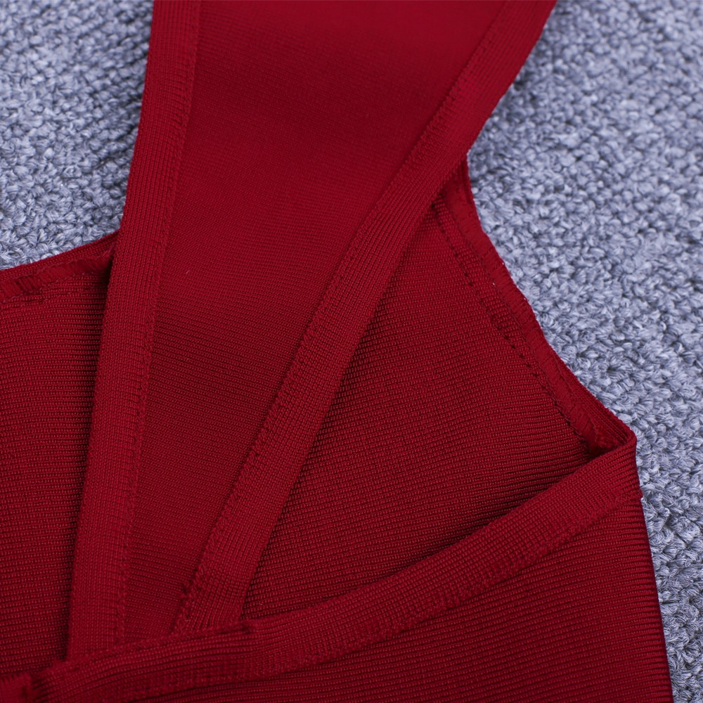 Wine Round Neck Short Sleeve Mini Plat Fashion Bandage Dress HI915-Wine
