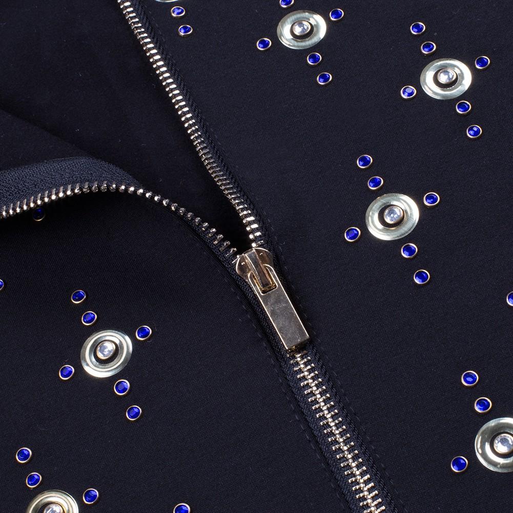 Rayon - Black Round Neck Long Sleeve Mini Metal Studded Fashion Bodycon Dress H0100-Black