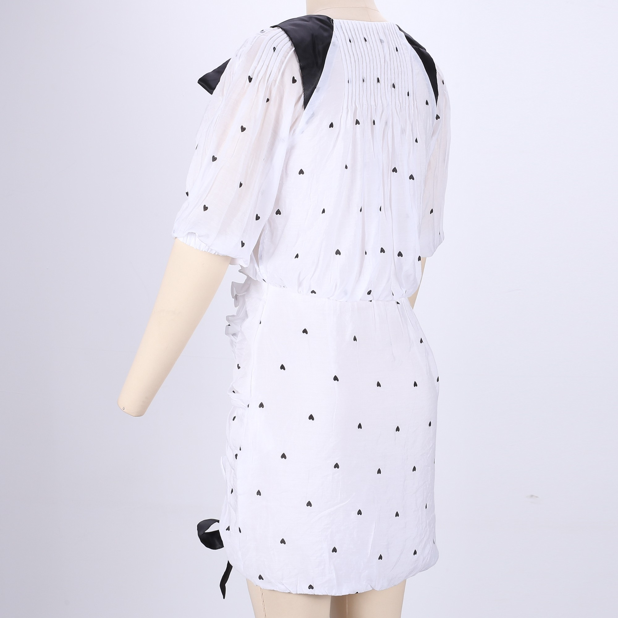 Rayon - White V Neck Short Sleeve Mini Ruched With Ties Special Bodycon Dress HJ544-White