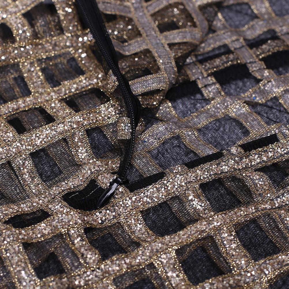 Black Strapy Sleeveless 2 Piece Sequin Sexy Bodycon Dress SP055-Black