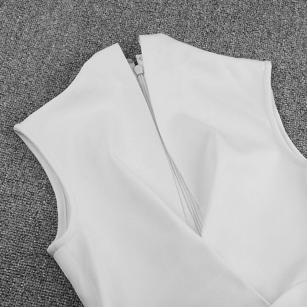 White V Neck Sleeveless Mini Bandage Dress PF19093-White