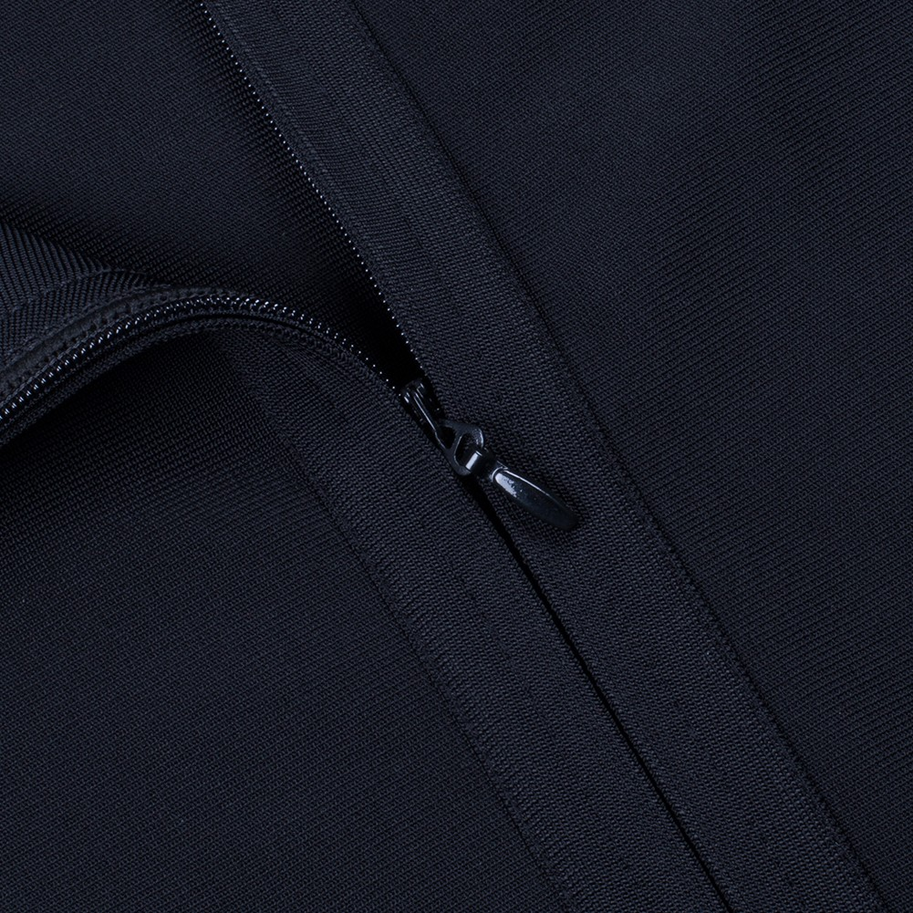 Rayon - Black Off Shoulder Long Sleeve One Piece Flower Mesh Sleeve Sexy Bandage Dress H0096-Black