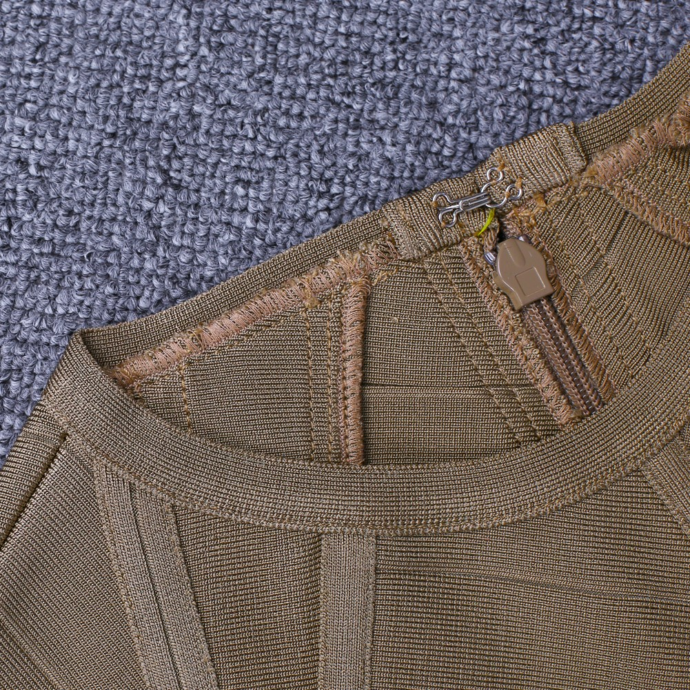 Light Brown Round Neck Long Sleeve Mini Weave High Quality Bandage Dress HI909-Light Brown