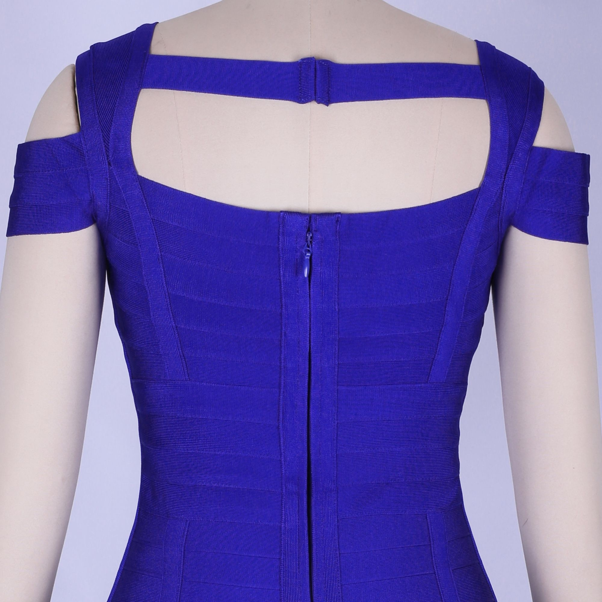 Dark Blue Round Neck Strapy Mini Back Hanging Bandage Dress