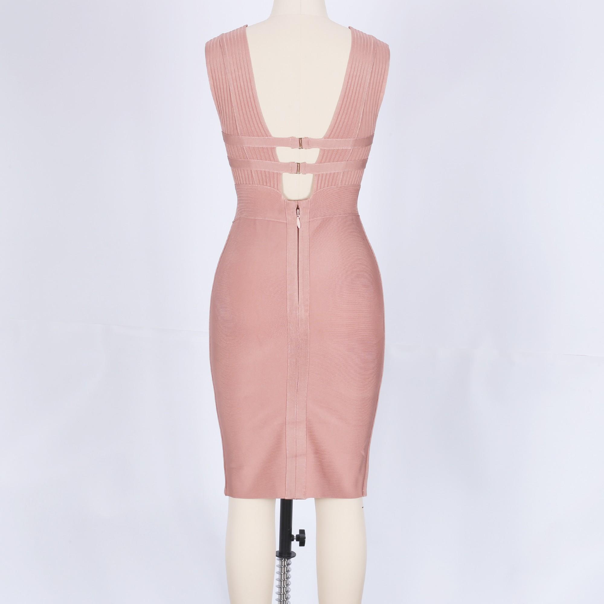 Brown V Neck Sleeveless Mini Plain Sexy Bandage Dress HK048-Brown