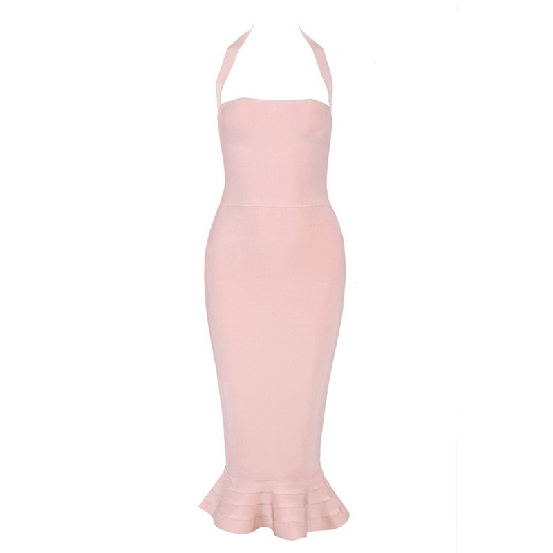 Rayon - Evening Halter Sleeveless Over Knee Pink Mermaid Bandage Dress
