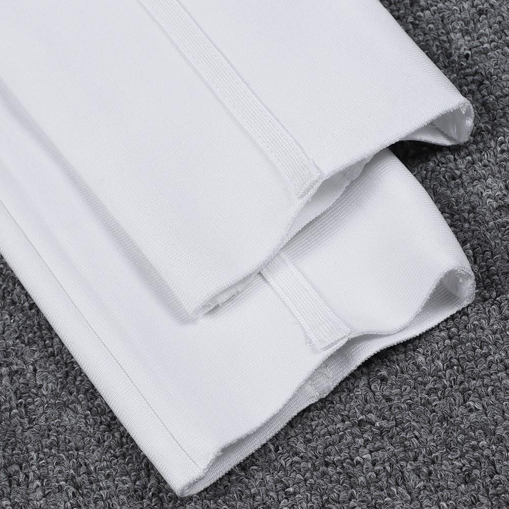 White V Neck Sleeveless Maxi Backless Cut Out Fashion Bandage Jumpsuit HK047-White