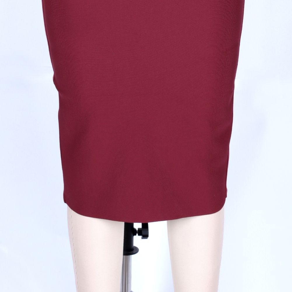 Wine Striped Over Knee Short Sleeve Strapy Bandage Dress PF19089-Wine
