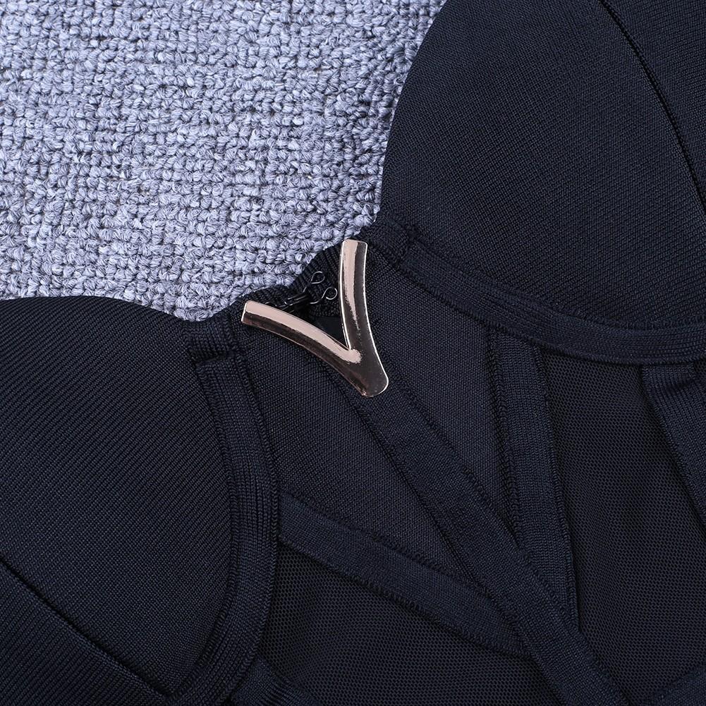 Black Strappy Sleeveless One Piece Lace Breast Sexy Bandage Dress PF19006-Black