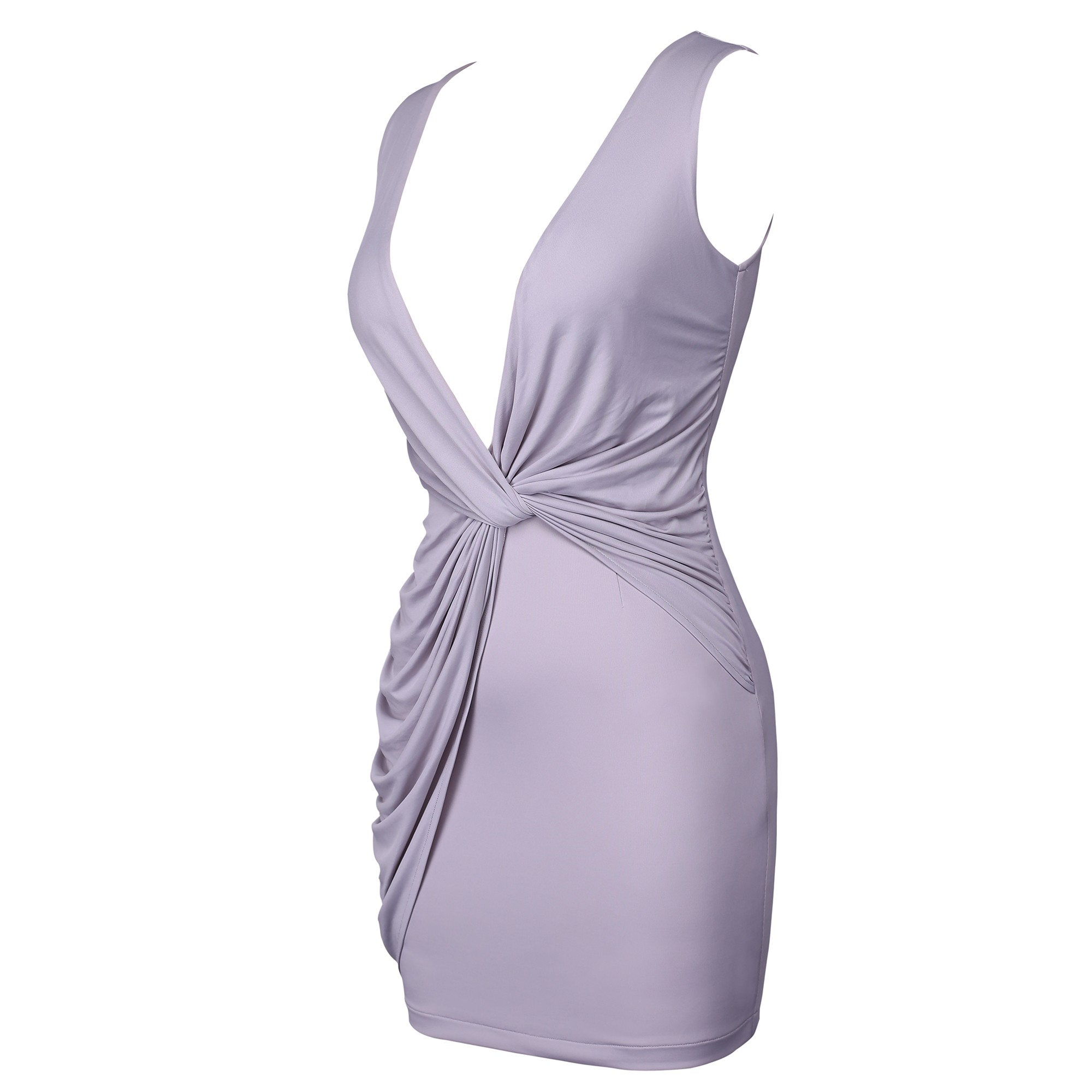 Gray V Neck Sleeveless Mini Stagger Knot Party Bodycon Dress HD510-Gray