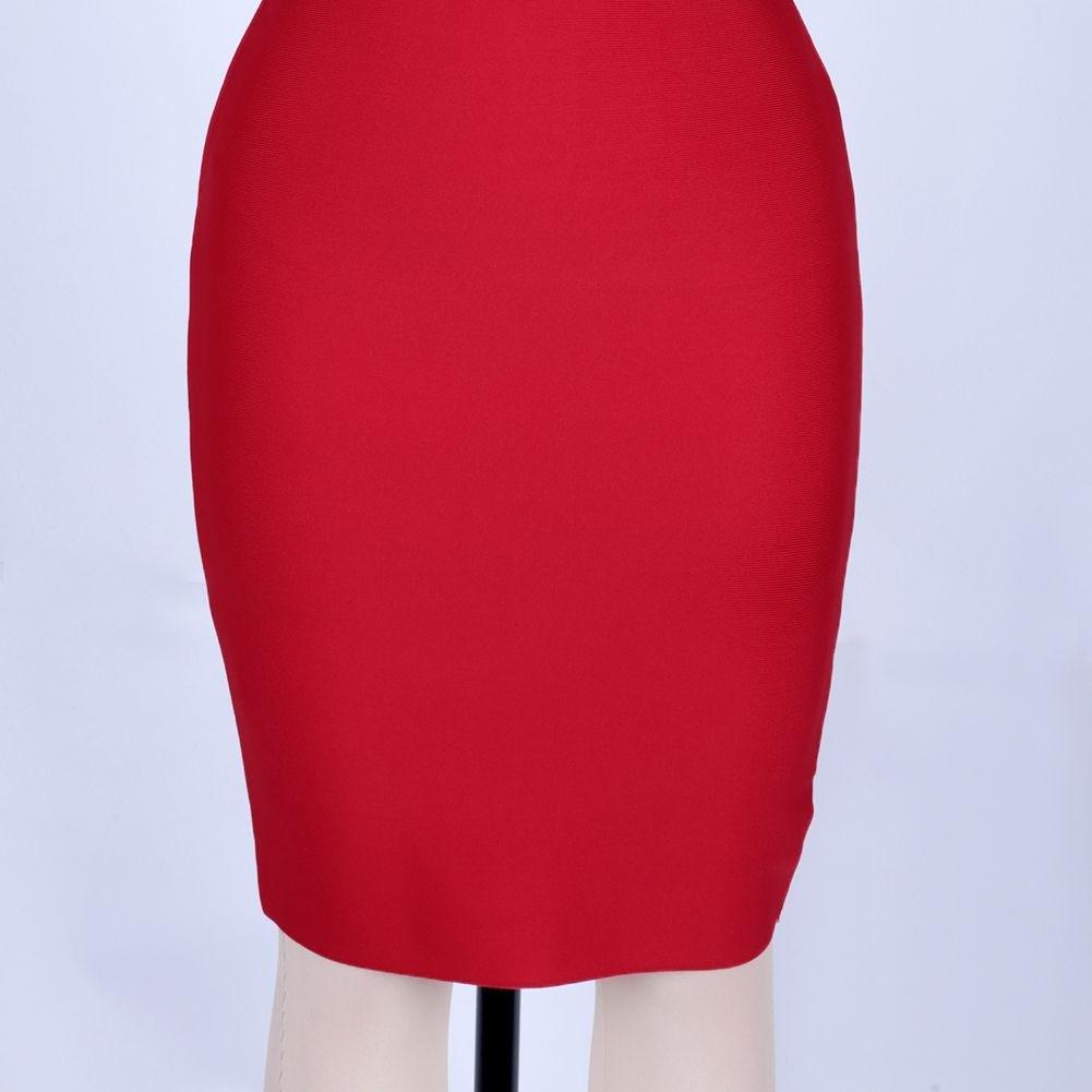 Red Cutout Mini Sleeveless Halter Bandage Dress PP19188-Red