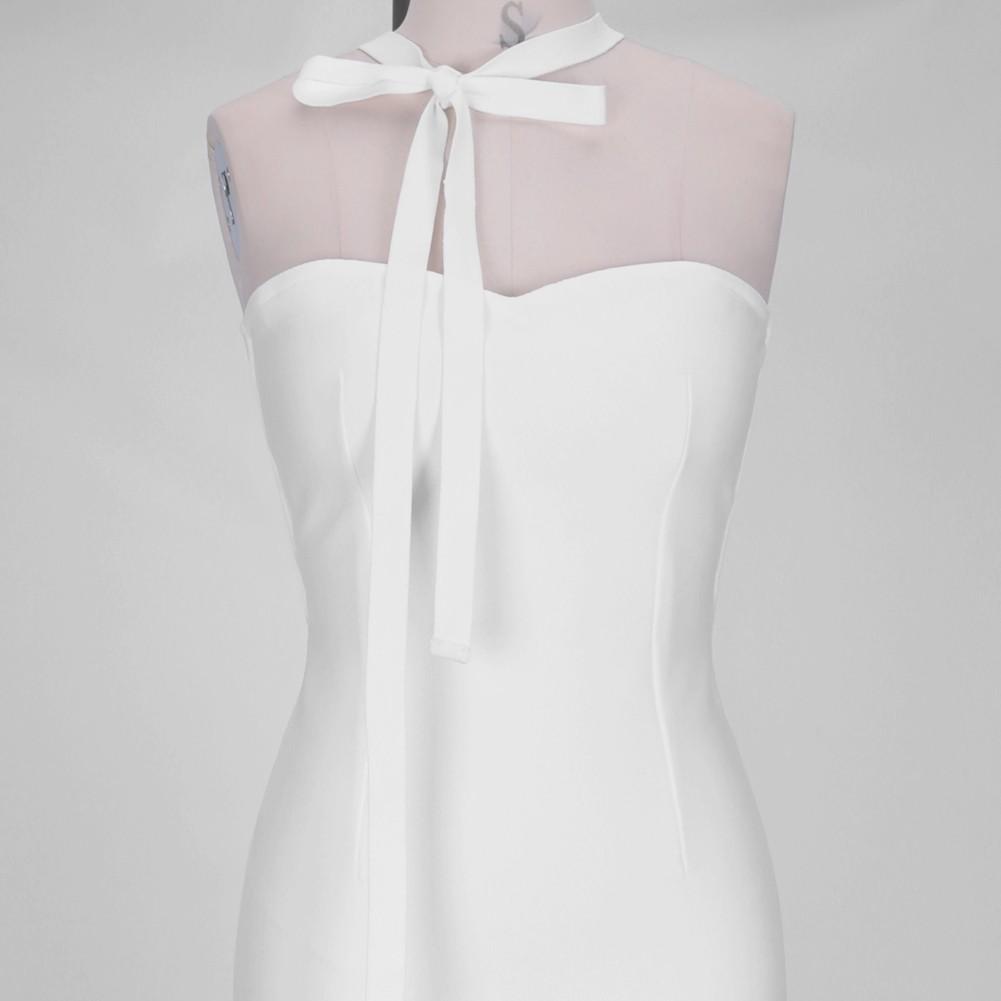 White Plain Over Knee Sleeveless Halter Bandage Dress PF19175-White