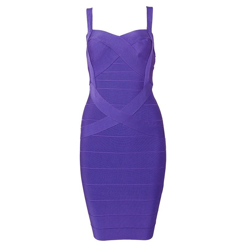 Strapy Sleeveless Mini Purple Fashion Bandage Dress H437-purple