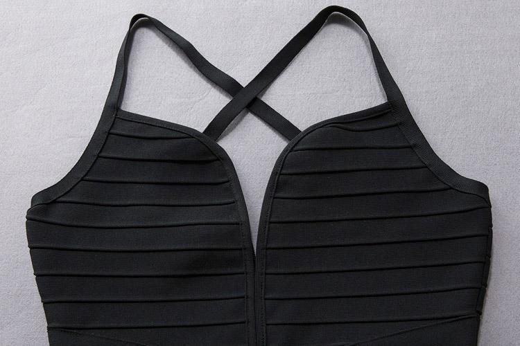 V neck sleeveless over knee black party bandage dress HB466-black