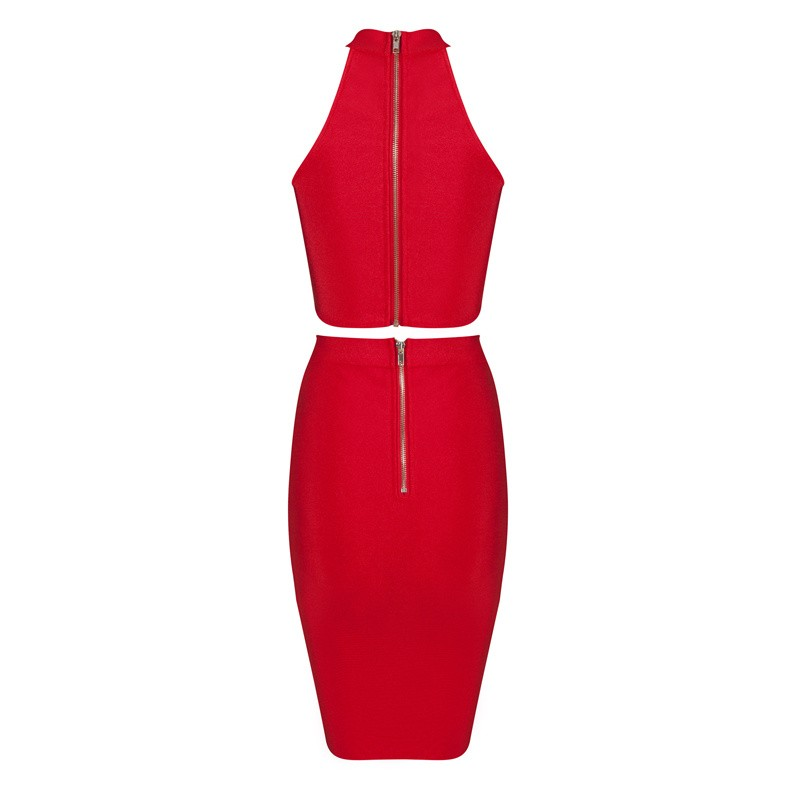 Halter Sleeveless 2 Piece High Neck Dropshipping Red Fashtion Bandage Dress HB632-red
