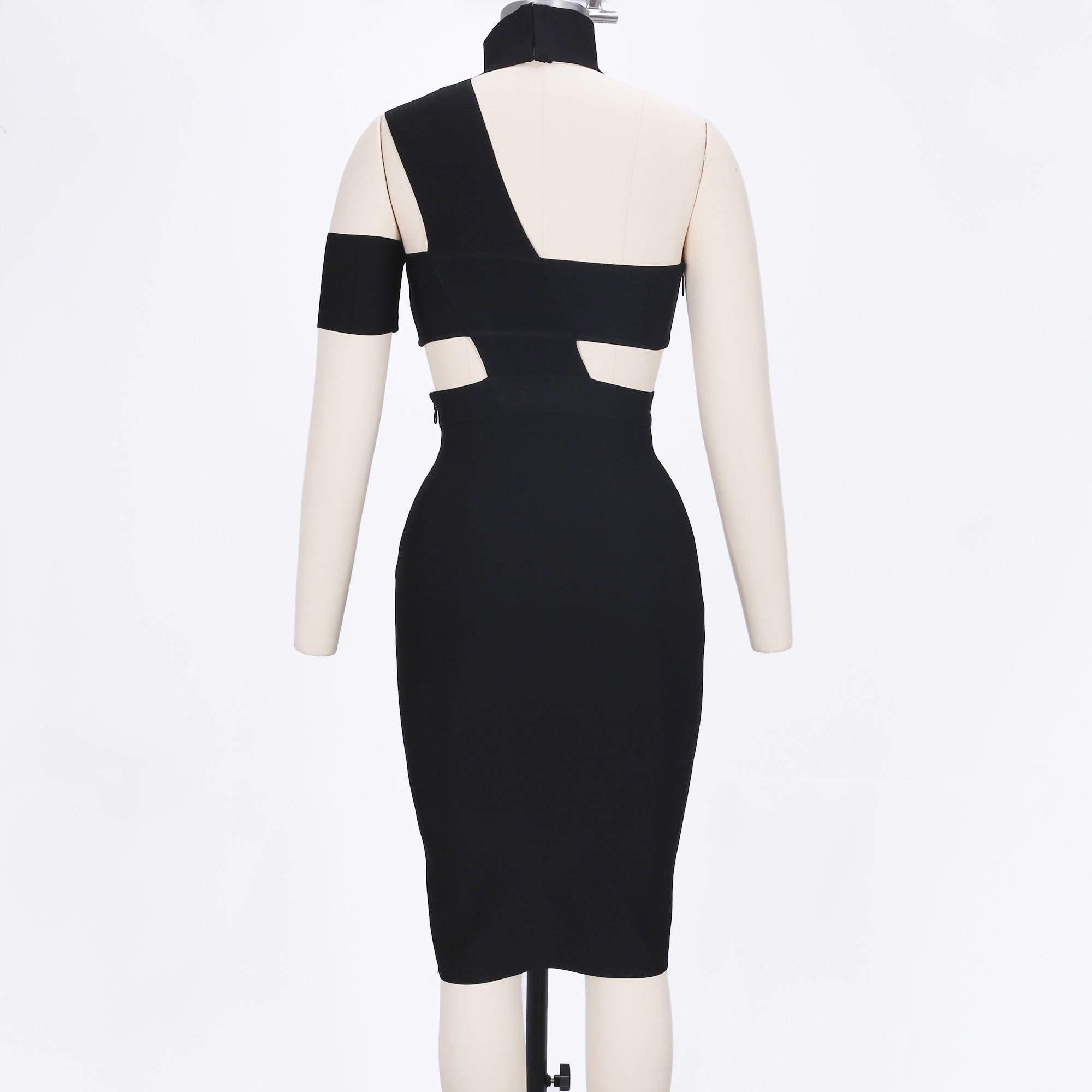 Halter Sleeveless Knee length Cutout Black Fashion Bandage dress SP015-BLACK