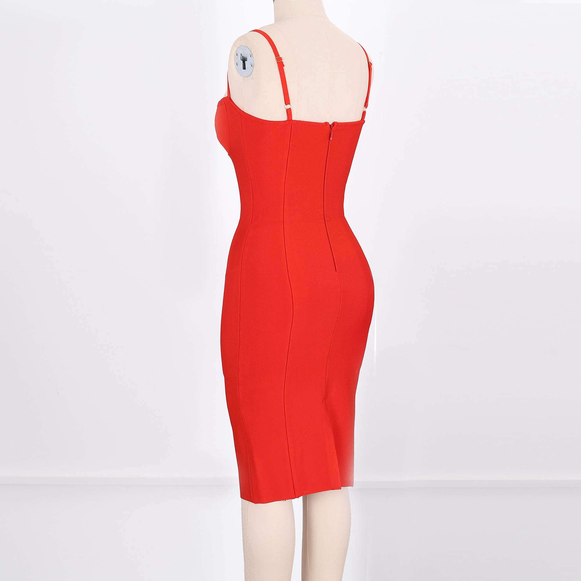 Rayon - Red Strapy Short Sleeve Mini Cut Out Evening Bandage Dress HJ555-Red