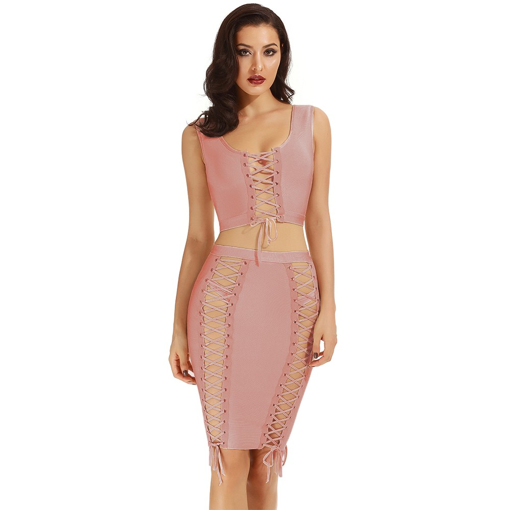Rayon - Pink Halter Sleeveless 2 Piece Plain Cross Lacing Sexy Bandage Dress H0008-Pink