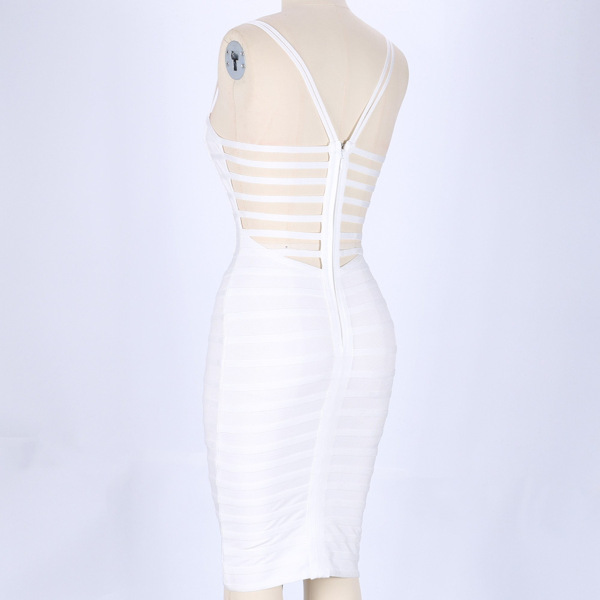 Rayon - White Strapy Sleeveless Mini Strapy Knit Party Bandage Dress HJ0369-White