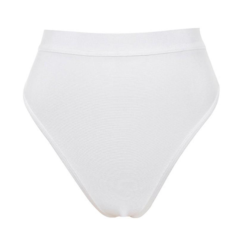 White Halter Sleeveless 2 Piece Back Zipped Cross White Bandage Swimwears