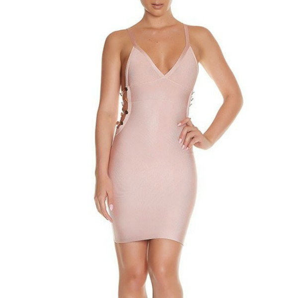 Rayon - Good Strapy Sleeveless Mini Nude Backless Cut Out Bandage Dress HJ331-Nude
