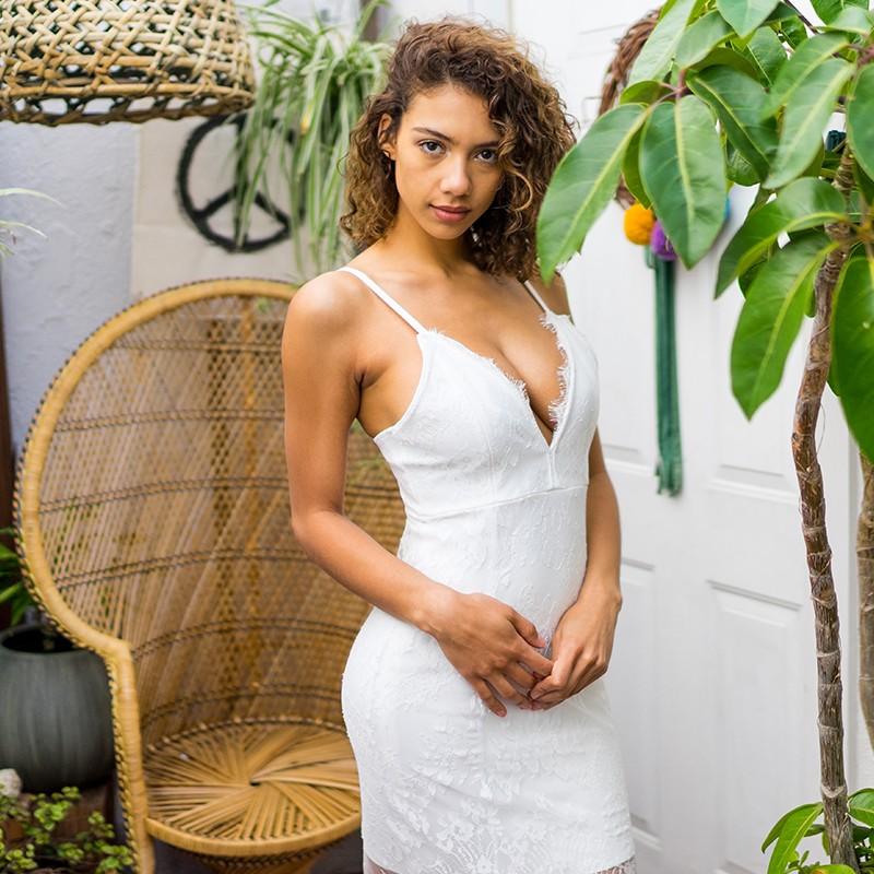 White V Neck Sleeveless Over Knee Lace Up Strapy High Quality Bandage Dress HI949-White
