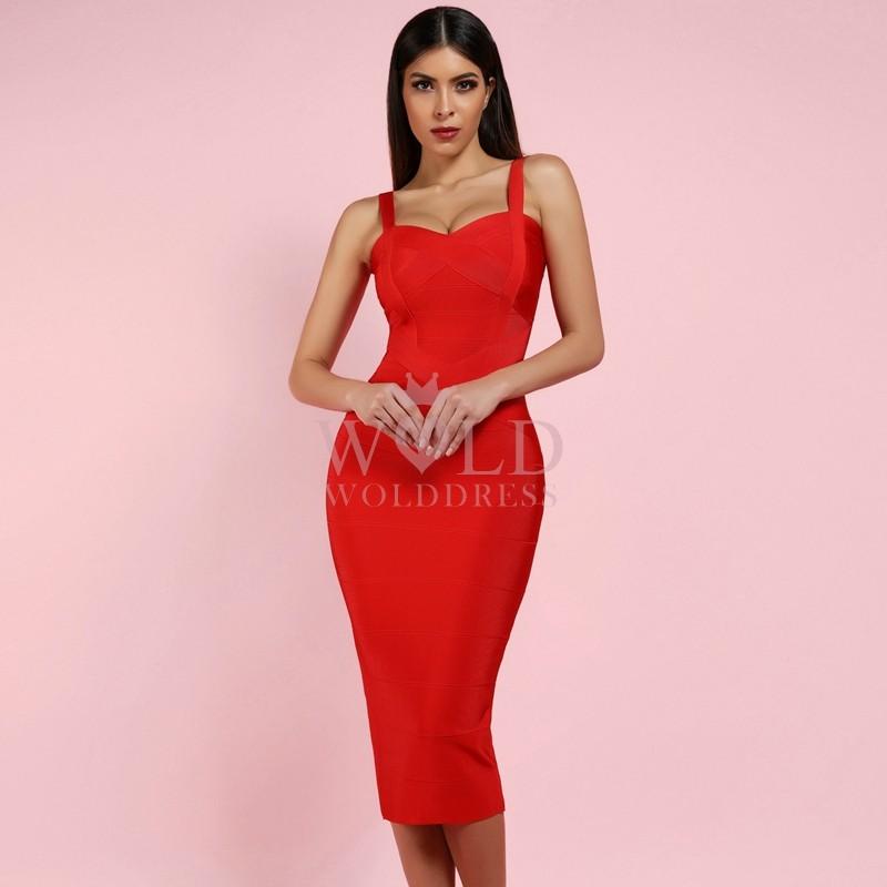 V Neck Sleeveless Over Knee Cross Over Valentine's Red Bandage Dress HX210-red