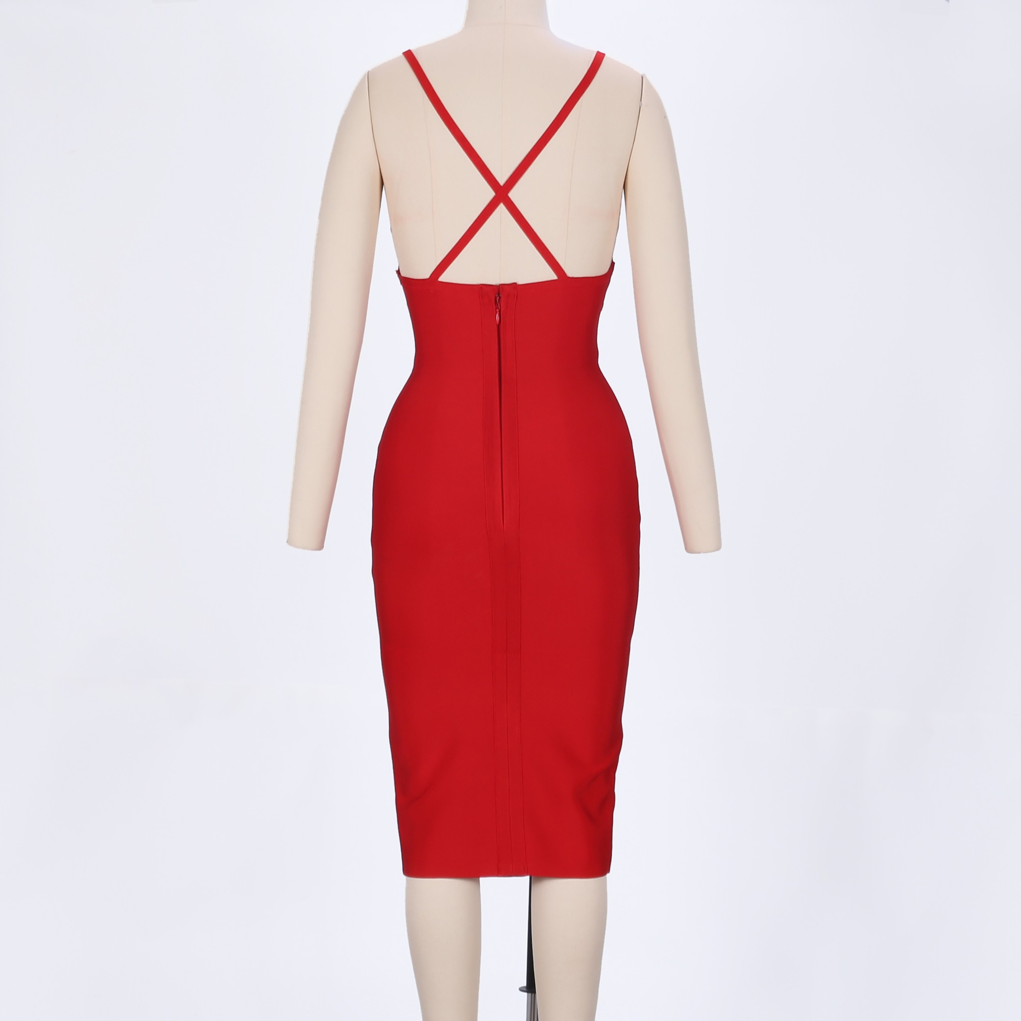 V neck Sleeveless Over Knee Open Back Red Evening Party Bandage Dress HX211-Red