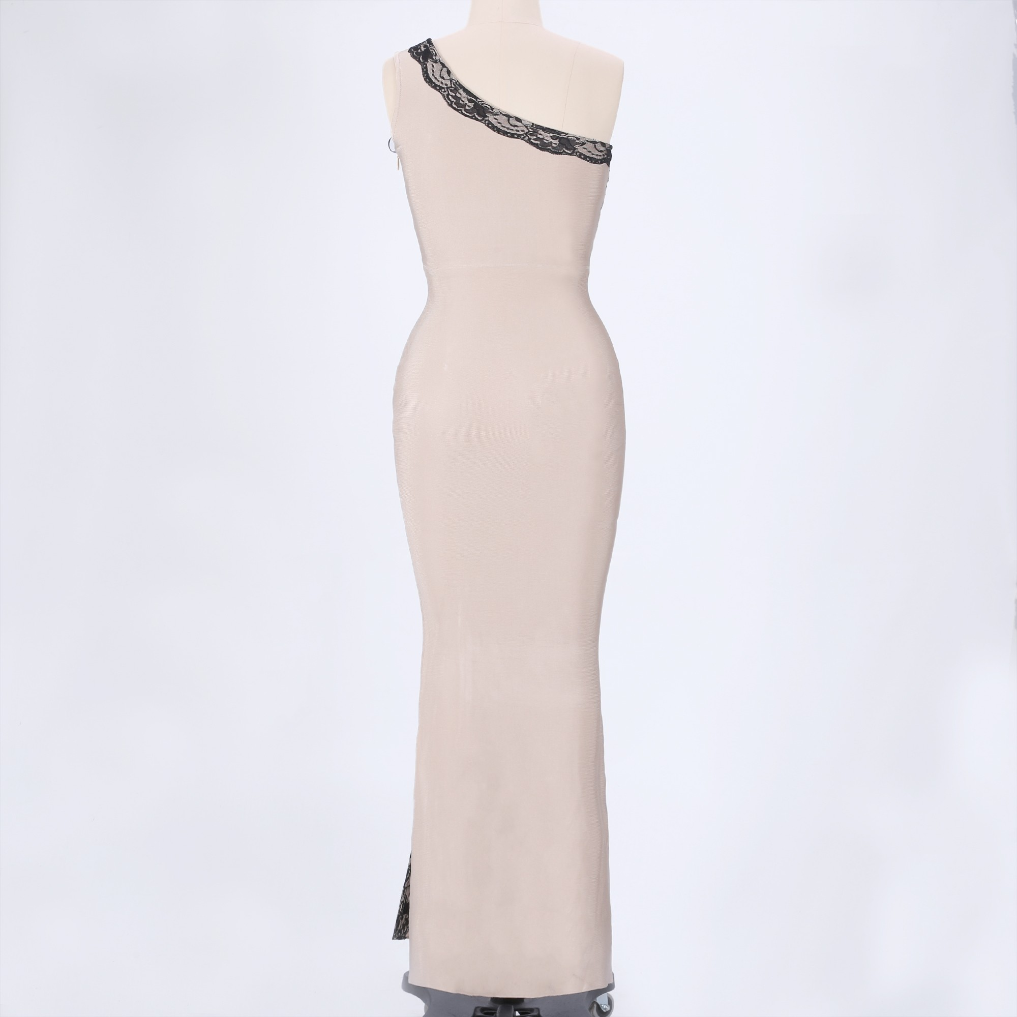 Nude One Shoulder Sleeveless Maxi Lace Fashion Bandage Dress HT0097-Nude
