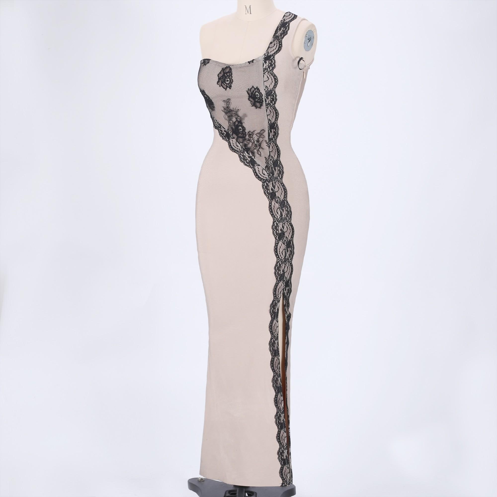 Nude One Shoulder Sleeveless Maxi Lace Fashion Bandage Dress HT0097-Nude