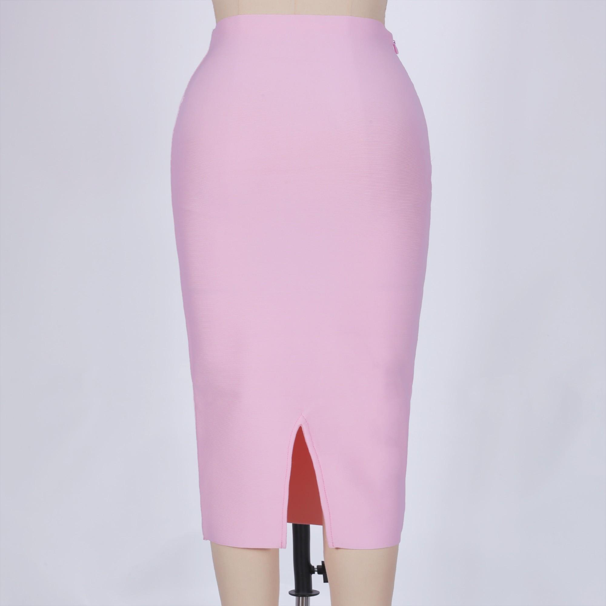 Pink Mini Plain Back Slit High Quality Bandage Skirt PPHK035-Pink