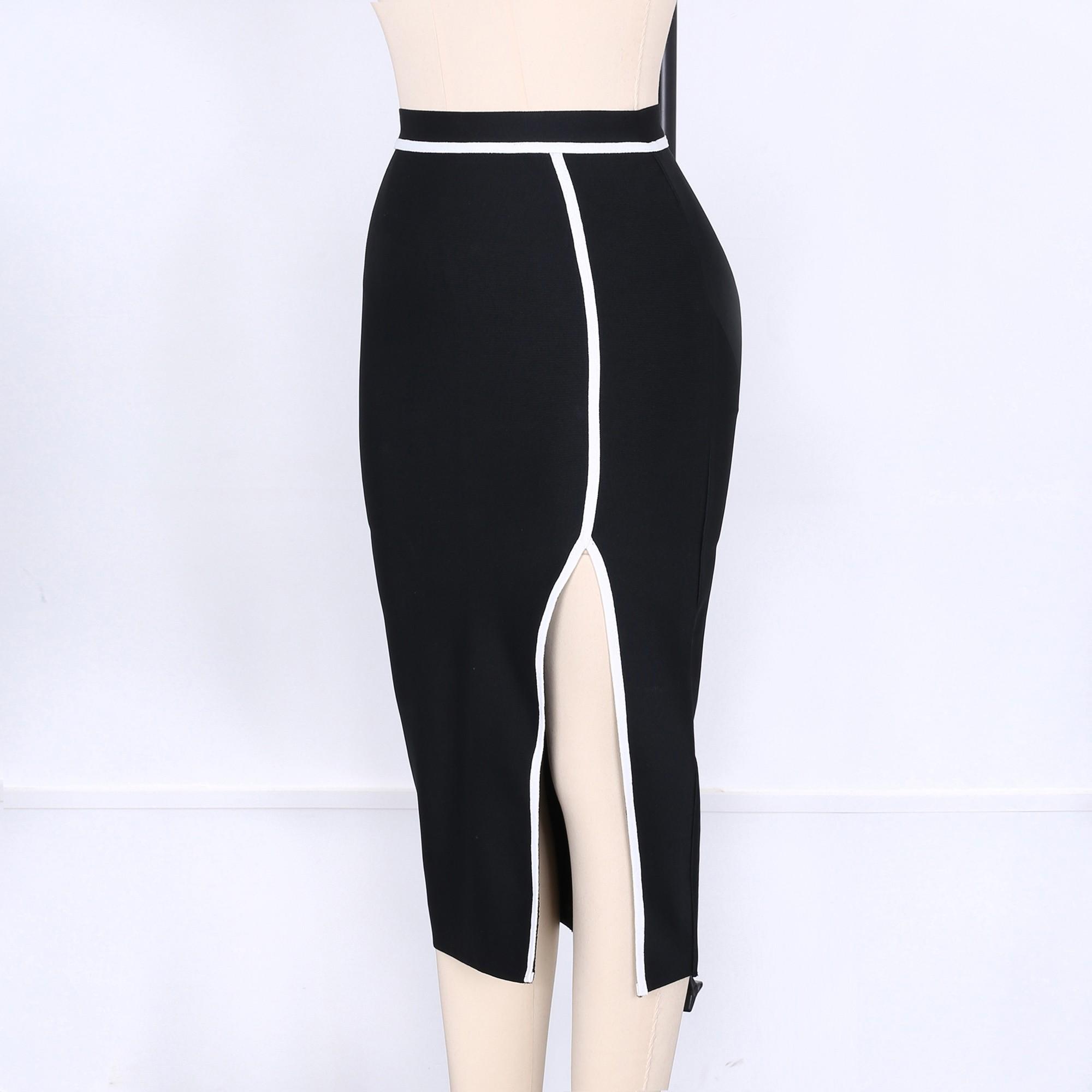 Black Mini Side Slit Sexy Bandage Skirt PPHK034-Black