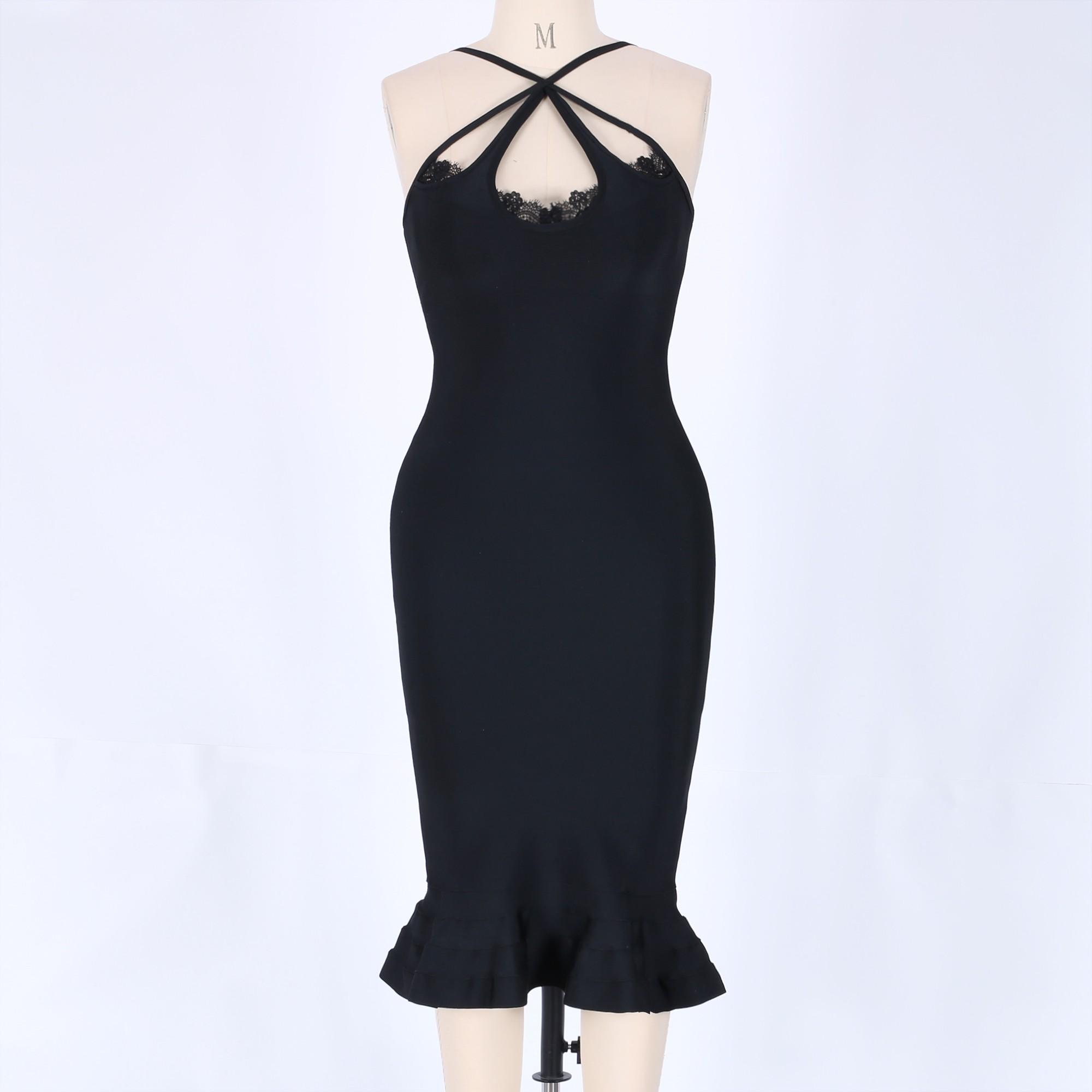 Black Halter Sleeveless Over Knee Lace Ruffle Evening Bandage Dress HB5324-Black