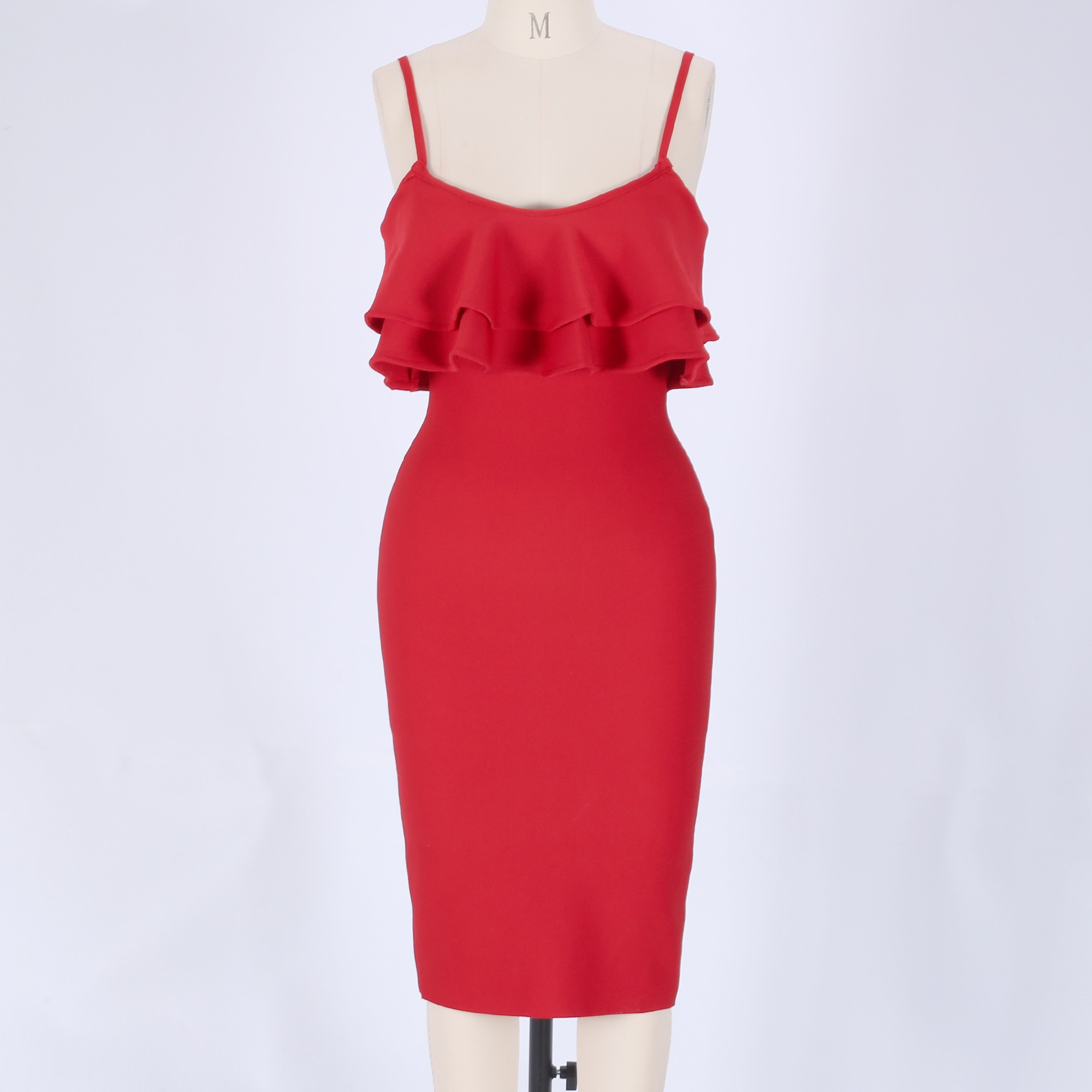 Red Strapy Off Shoulder Over Knee Scolloped Sleeves Back Slitted Fashion Bandage Dress HB5404-Red