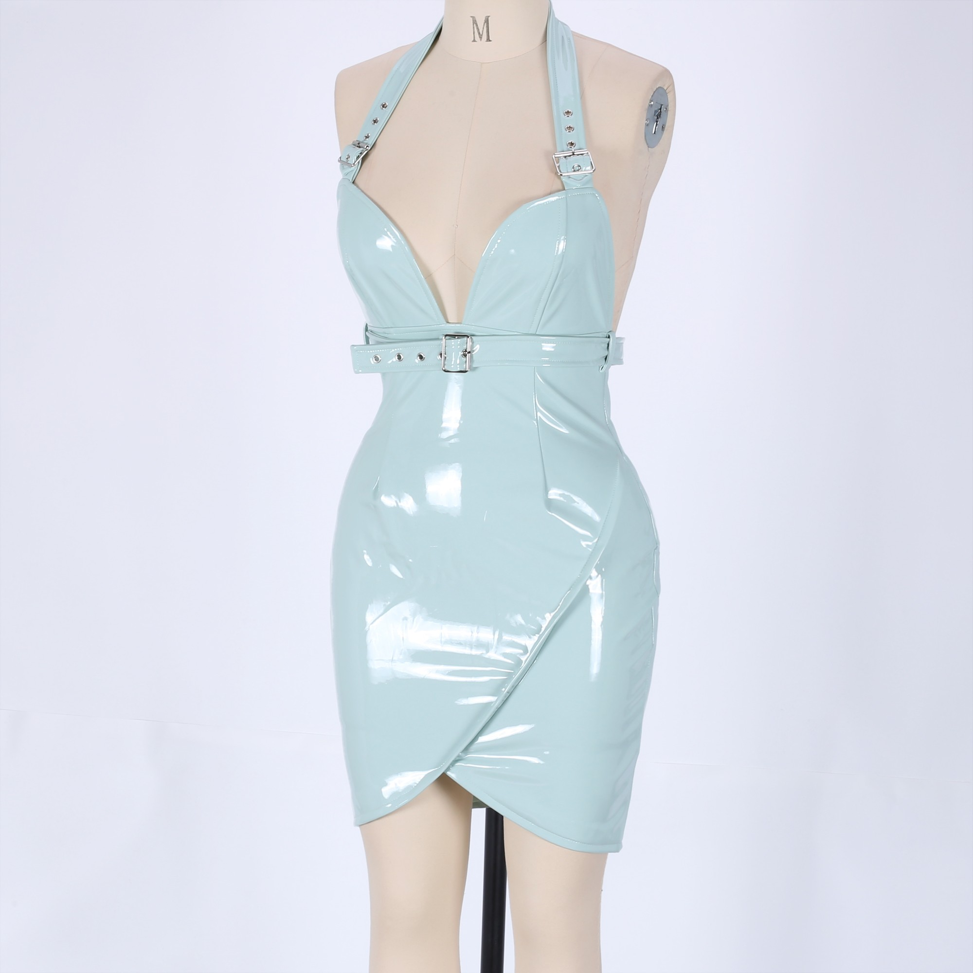Green Strappy Sleeveless Mini Backless With Belt Club Bodycon Dress HB5382-Green