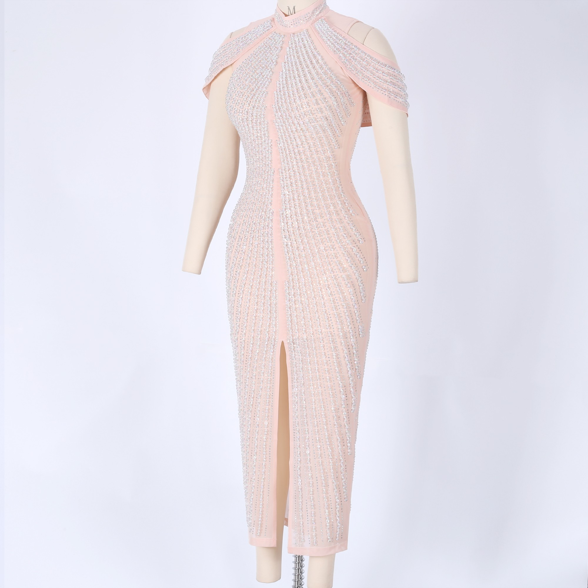 Pink Round Neck Short Sleeve Maxi Cutout  Paillette Fashion Bodycon Dress HW233-Pink