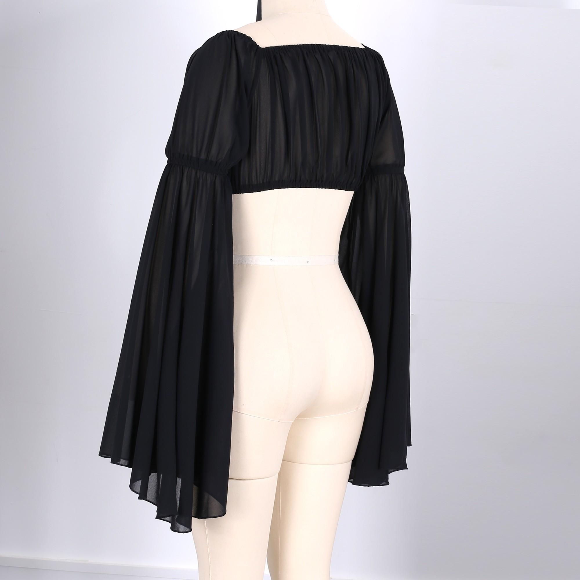 Black Off Shoulder Long Sleeve Mini Ruched Pagoda Sleeve Summer Bodycon Top HD512-Black