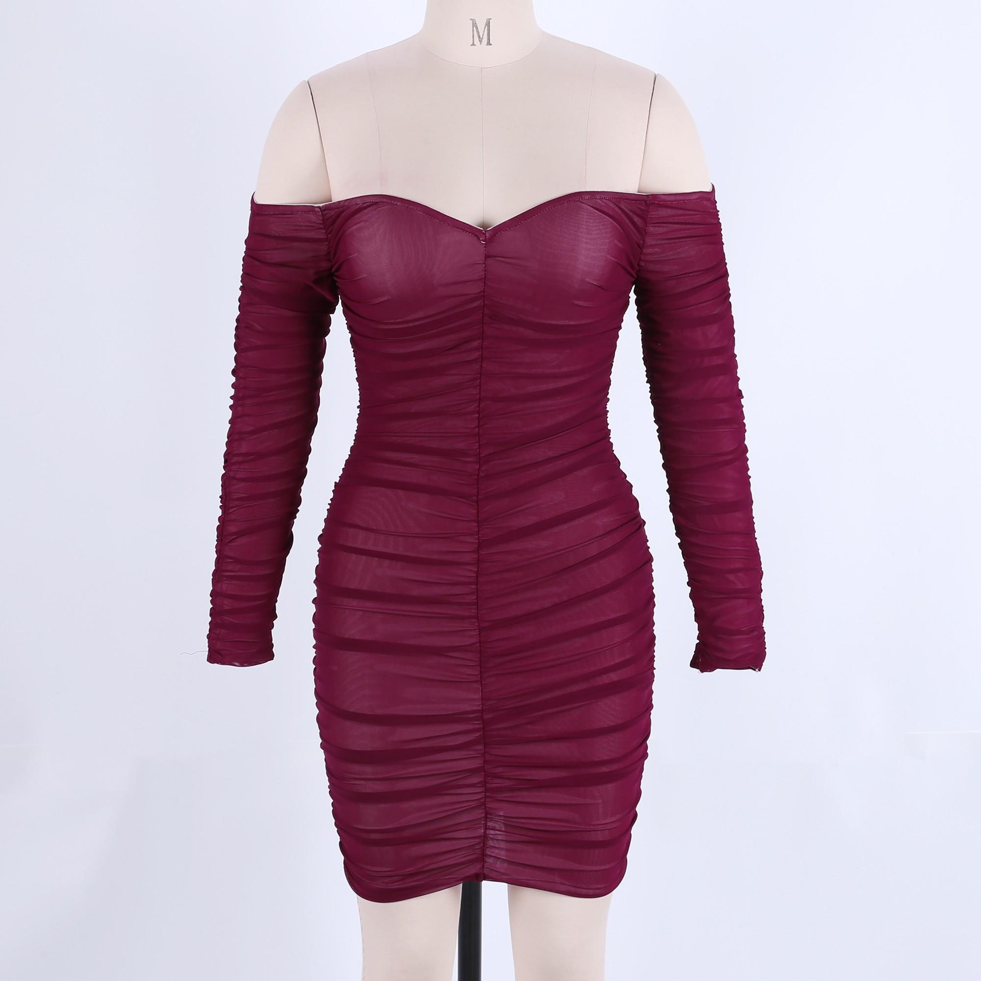 Wine Off Shoulder Longsleeve Mini Wrinkled Mesh Evening Bodycon Dress HF118-Wine