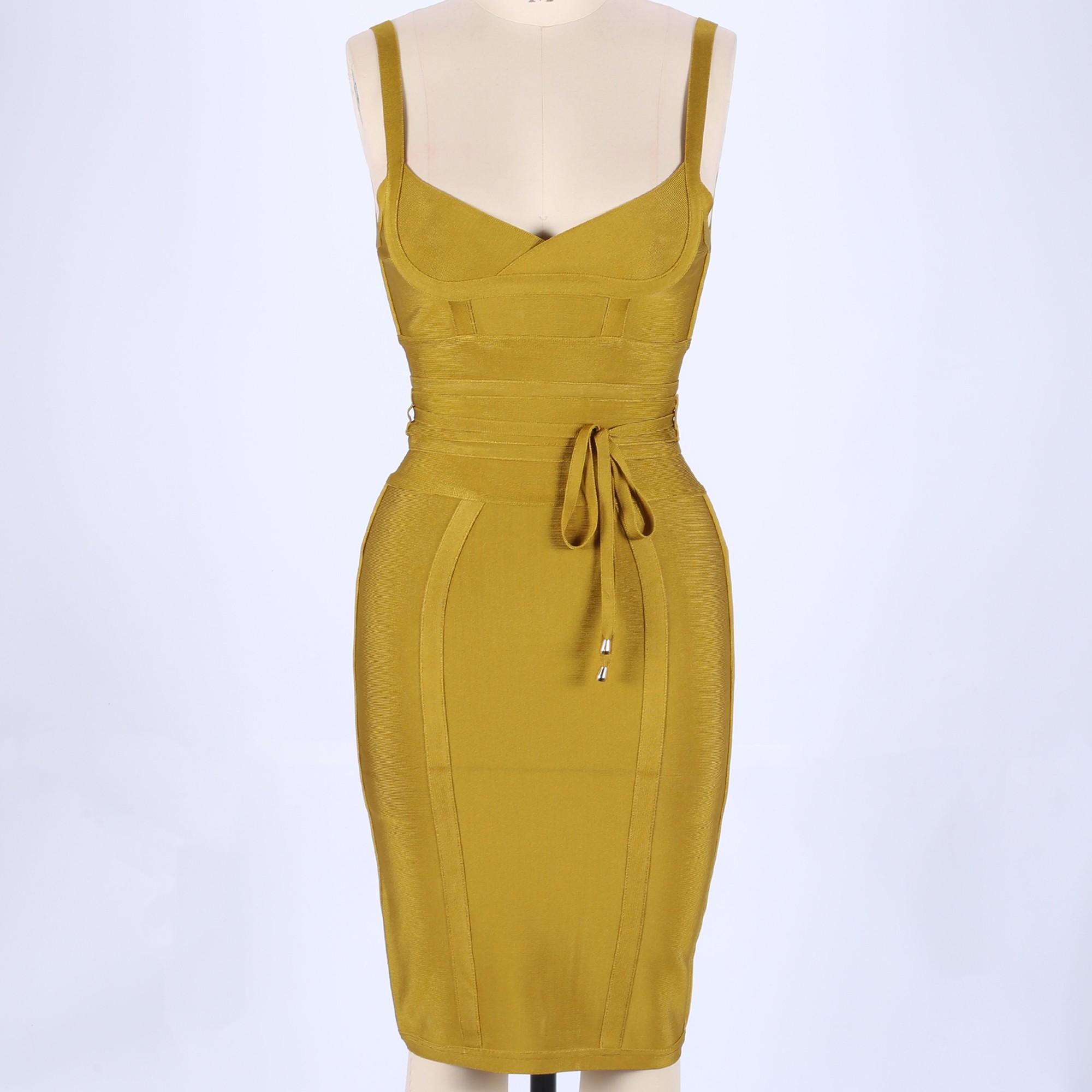 Rayon - Yellow Strapy Sleeveless One Piece Bandage Tie Fashion Bandage Dress HJ448-Yellow