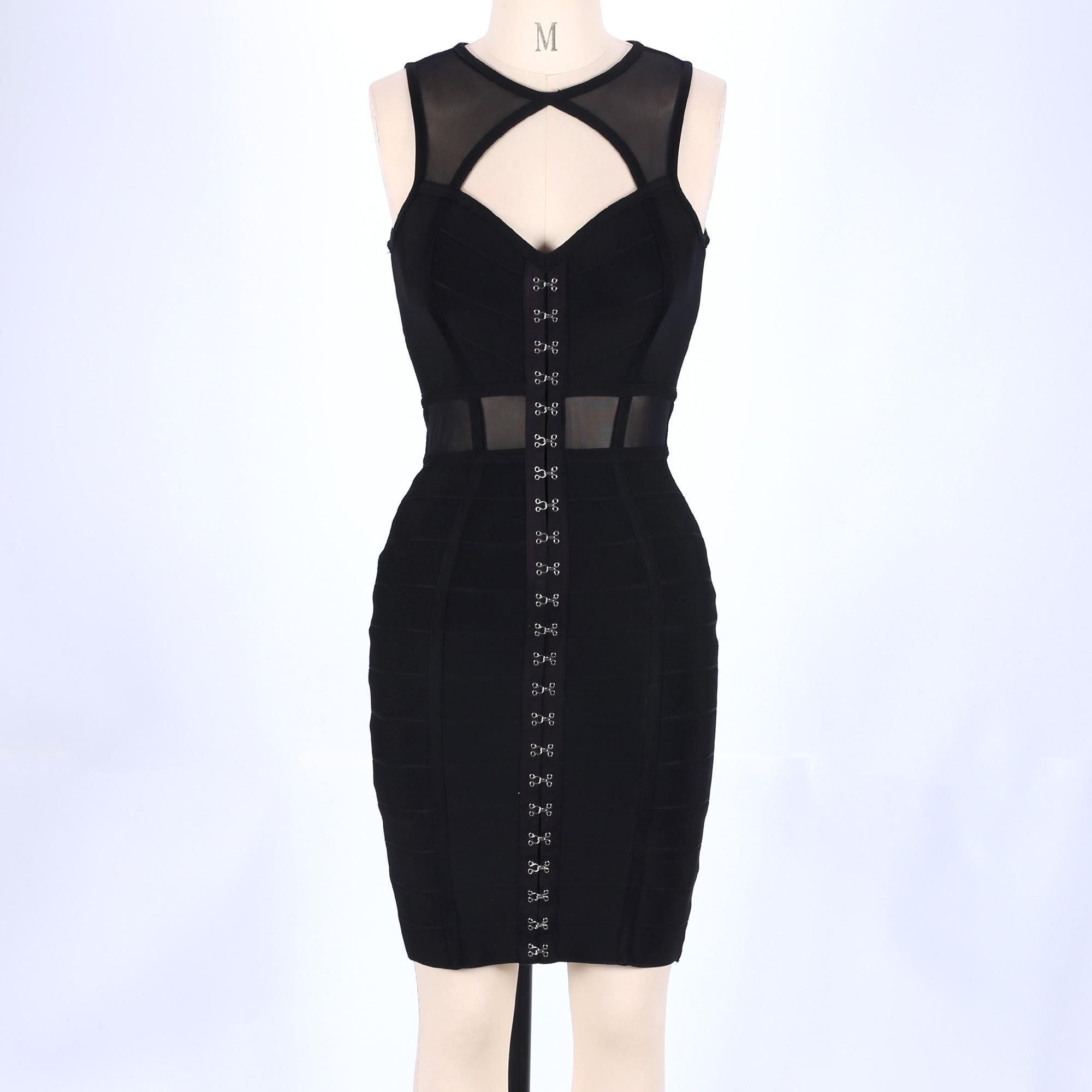 Rayon - Black Round Neck Sleeveless Mini Mesh Cut Out Party Bandage Dress HJ457-Black