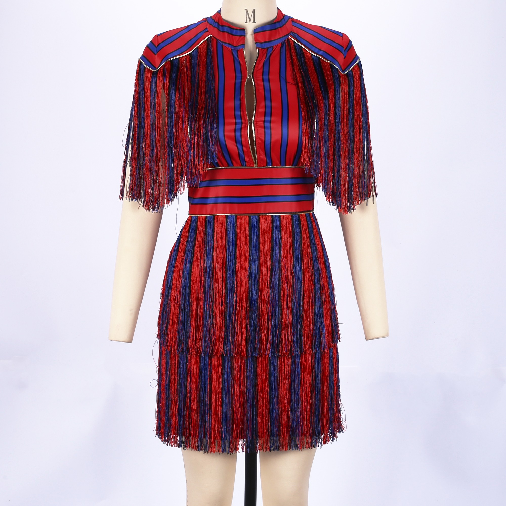 Red High Neck Short Sleeve Mini Tassel Vertical Stripe Party Bodycon Dress SP051-Red